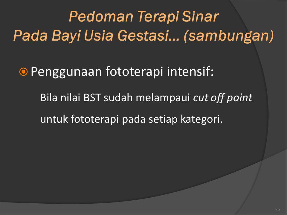 Pedoman Terapi Sinar Pada Bayi Usia Gestasi… (sambungan)  Penggunaan fototerapi intensif: Bila nilai BST sudah melampaui cut off point untuk fototera