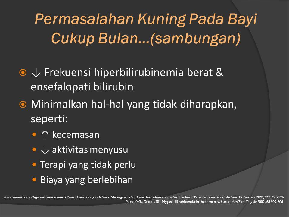 RASIO BILIRUBIN : ALBUMIN Usia Gestasi dan Kelompok RisikoRasio Bilirubin : Albumin > 38 minggu dan sehat8.0 >38 minggu + hemolisis, Atau 35 -- 37 6/7 dan sehat 7.2 35 -- 37 6/7 + hemolisis6.8 25 Subcommitee on Hyperbilirubinemia.