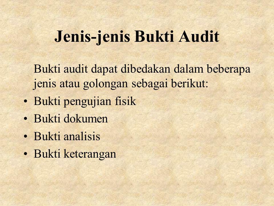 Jenis-jenis Bukti Audit Bukti audit dapat dibedakan dalam beberapa jenis atau golongan sebagai berikut: Bukti pengujian fisik Bukti dokumen Bukti analisis Bukti keterangan