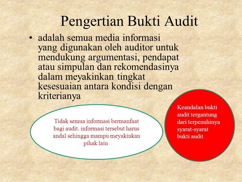 Pengertian Bukti Audit adalah semua media informasi yang digunakan oleh auditor untuk mendukung argumentasi, pendapat atau simpulan dan rekomendasinya dalam meyakinkan tingkat kesesuaian antara kondisi dengan kriterianya Tidak semua informasi bermanfaat bagi audit.