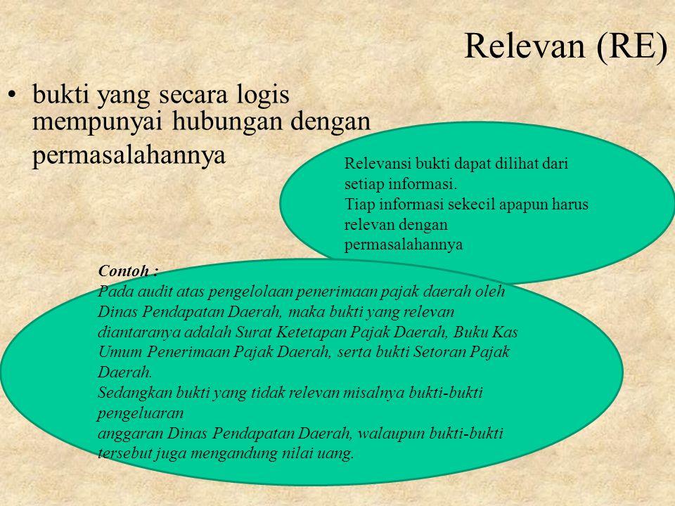 Relevan (RE) bukti yang secara logis mempunyai hubungan dengan permasalahannya Relevansi bukti dapat dilihat dari setiap informasi.