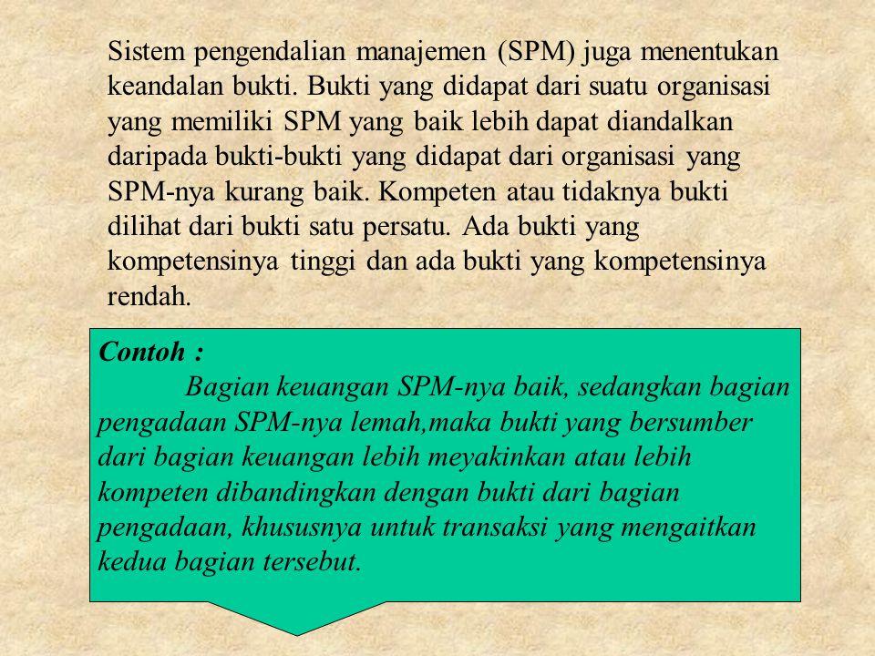 Sistem pengendalian manajemen (SPM) juga menentukan keandalan bukti.