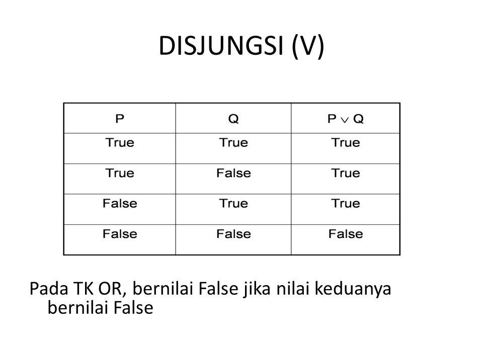 DISJUNGSI (V) Pada TK OR, bernilai False jika nilai keduanya bernilai False