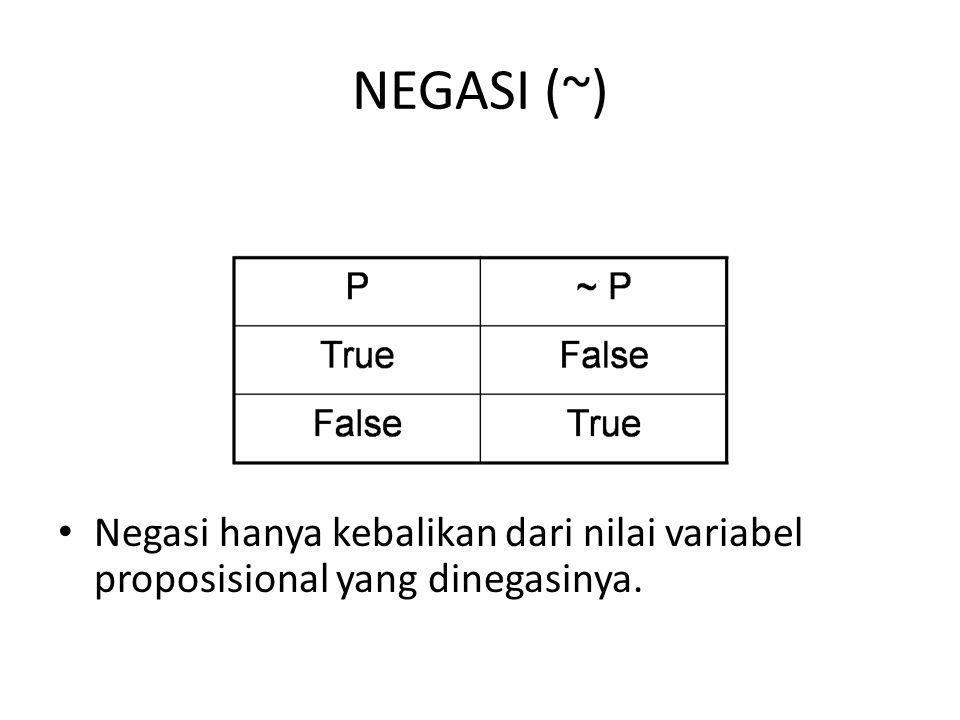 NEGASI (~) Negasi hanya kebalikan dari nilai variabel proposisional yang dinegasinya.