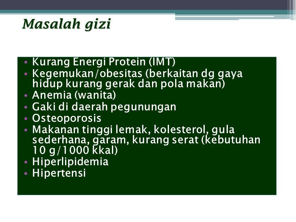 Masalah gizi Kurang Energi Protein (IMT) Kegemukan/obesitas (berkaitan dg gaya hidup kurang gerak dan pola makan) Anemia (wanita) Gaki di daerah pegun