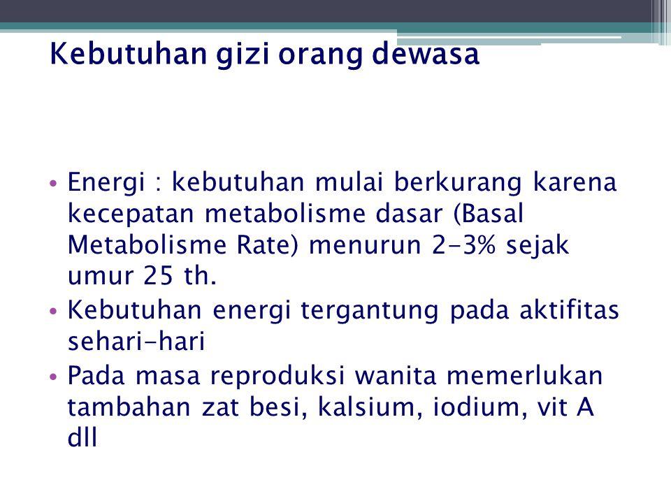 Kebutuhan gizi orang dewasa Energi : kebutuhan mulai berkurang karena kecepatan metabolisme dasar (Basal Metabolisme Rate) menurun 2-3% sejak umur 25