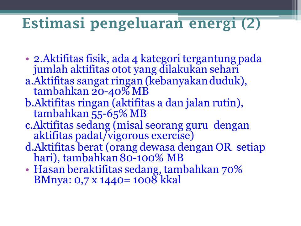Estimasi pengeluaran energi (2) 2.Aktifitas fisik, ada 4 kategori tergantung pada jumlah aktifitas otot yang dilakukan sehari a.Aktifitas sangat ringa