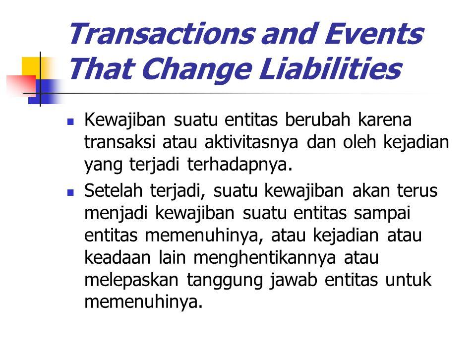 Transactions and Events That Change Liabilities Kewajiban suatu entitas berubah karena transaksi atau aktivitasnya dan oleh kejadian yang terjadi terh