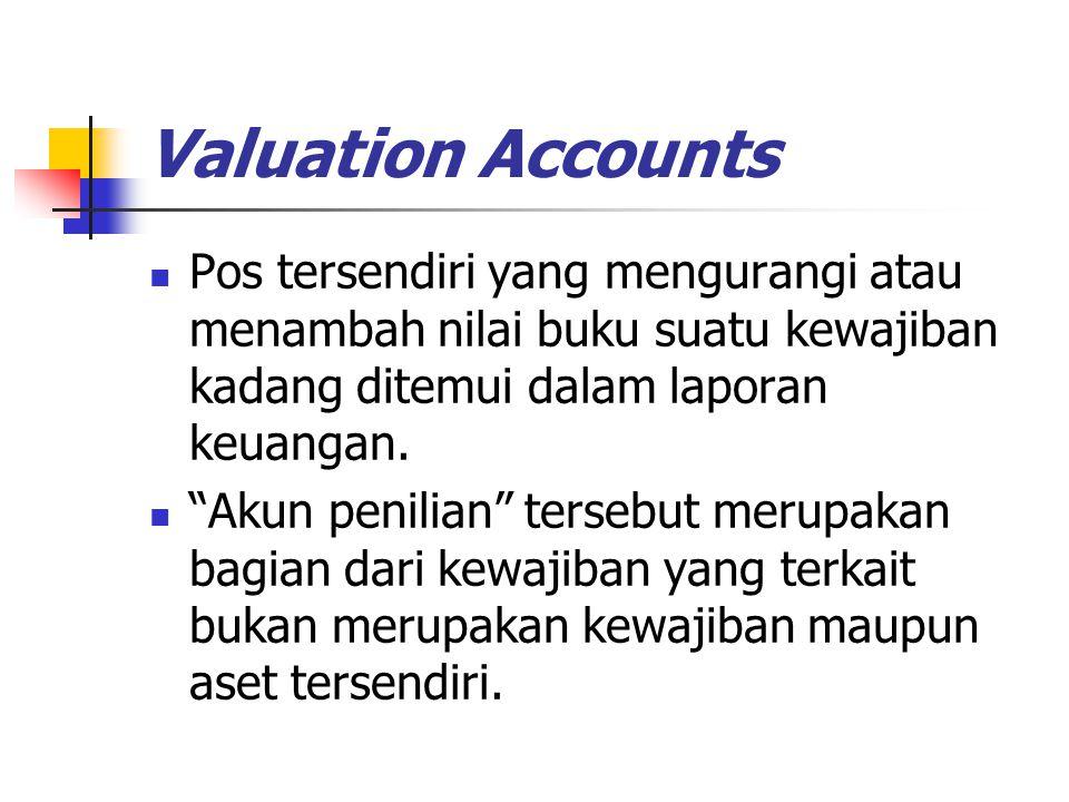 """Valuation Accounts Pos tersendiri yang mengurangi atau menambah nilai buku suatu kewajiban kadang ditemui dalam laporan keuangan. """"Akun penilian"""" ters"""