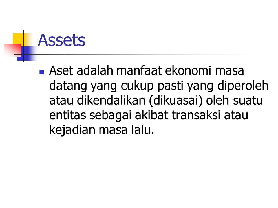 Assets Aset adalah manfaat ekonomi masa datang yang cukup pasti yang diperoleh atau dikendalikan (dikuasai) oleh suatu entitas sebagai akibat transaks