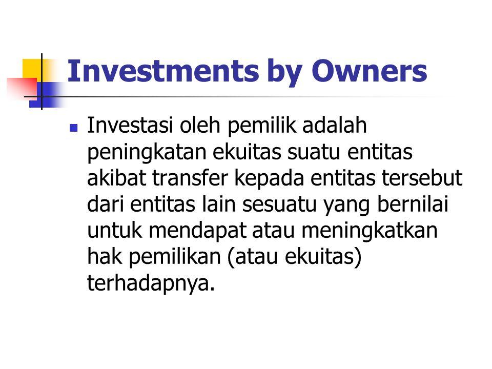 Investments by Owners Investasi oleh pemilik adalah peningkatan ekuitas suatu entitas akibat transfer kepada entitas tersebut dari entitas lain sesuat