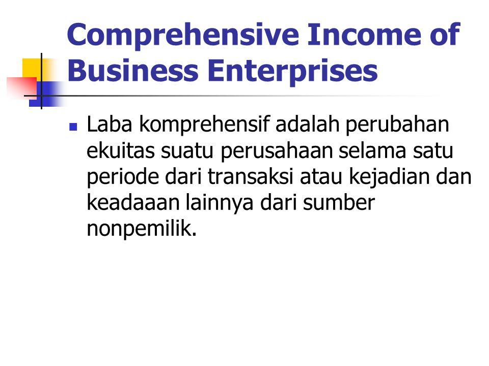 Comprehensive Income of Business Enterprises Laba komprehensif adalah perubahan ekuitas suatu perusahaan selama satu periode dari transaksi atau kejad
