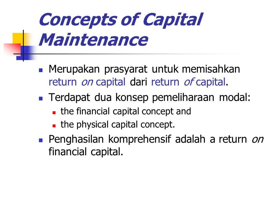 Concepts of Capital Maintenance Merupakan prasyarat untuk memisahkan return on capital dari return of capital. Terdapat dua konsep pemeliharaan modal: