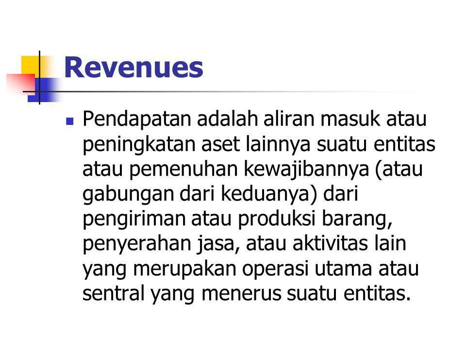 Revenues Pendapatan adalah aliran masuk atau peningkatan aset lainnya suatu entitas atau pemenuhan kewajibannya (atau gabungan dari keduanya) dari pen