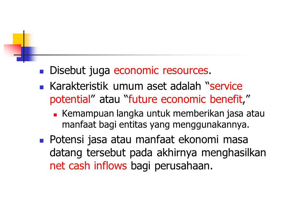 """Disebut juga economic resources. Karakteristik umum aset adalah """"service potential"""" atau """"future economic benefit,"""" Kemampuan langka untuk memberikan"""
