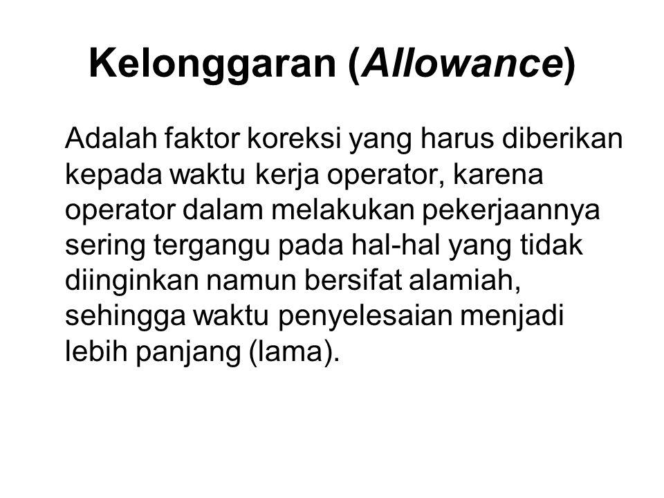 Kelonggaran (Allowance) Adalah faktor koreksi yang harus diberikan kepada waktu kerja operator, karena operator dalam melakukan pekerjaannya sering tergangu pada hal-hal yang tidak diinginkan namun bersifat alamiah, sehingga waktu penyelesaian menjadi lebih panjang (lama).