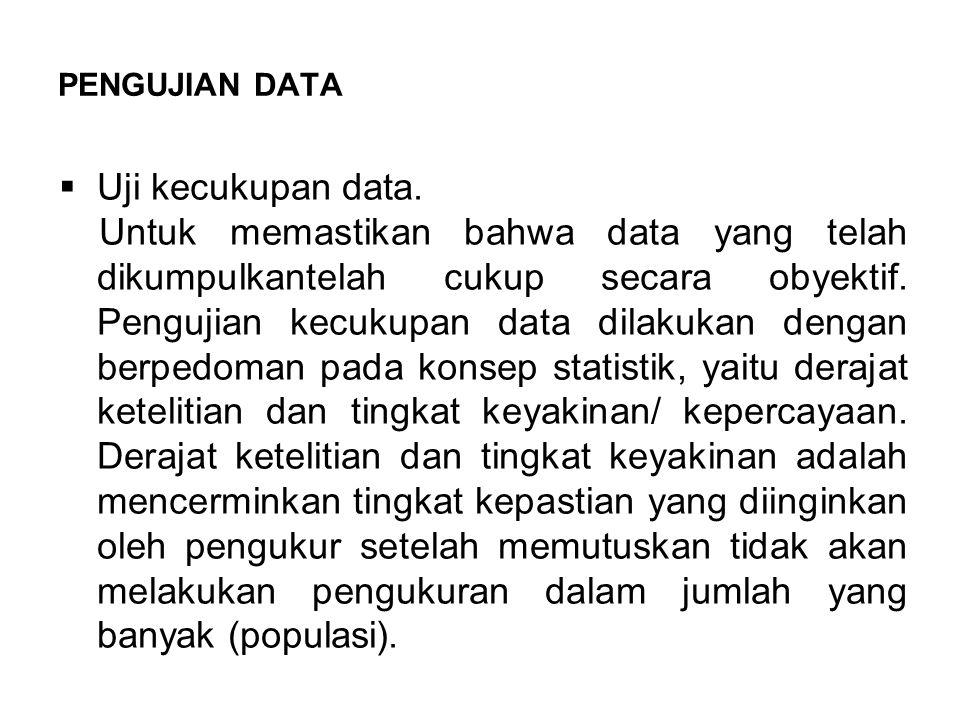 PENGUJIAN DATA  Uji kecukupan data.