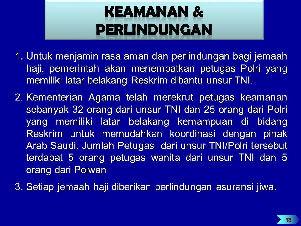 1.Untuk menjamin rasa aman dan perlindungan bagi jemaah haji, pemerintah akan menempatkan petugas Polri yang memiliki latar belakang Reskrim dibantu u