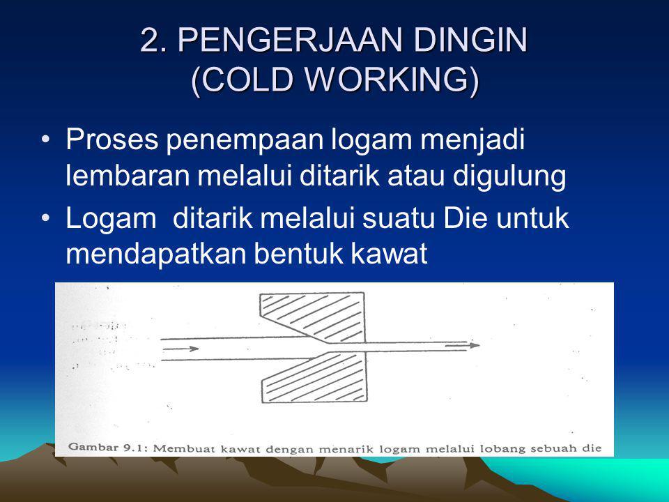 2. PENGERJAAN DINGIN (COLD WORKING) Proses penempaan logam menjadi lembaran melalui ditarik atau digulung Logam ditarik melalui suatu Die untuk mendap