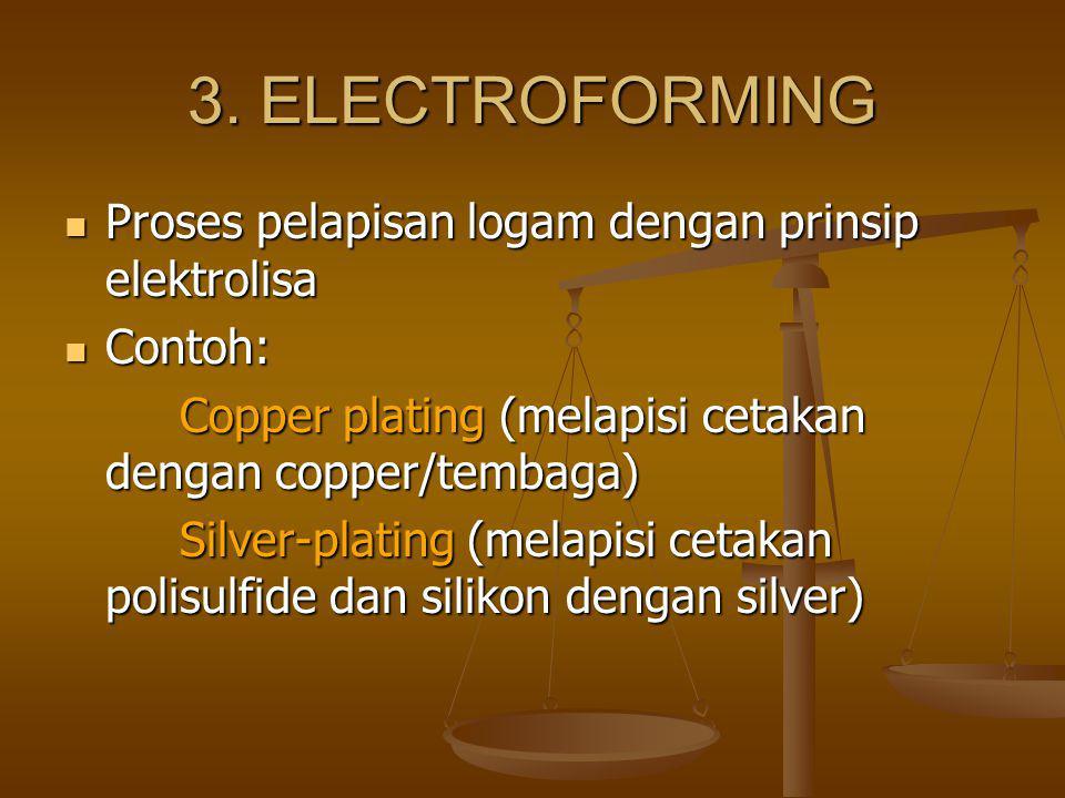 3. ELECTROFORMING Proses pelapisan logam dengan prinsip elektrolisa Proses pelapisan logam dengan prinsip elektrolisa Contoh: Contoh: Copper plating (