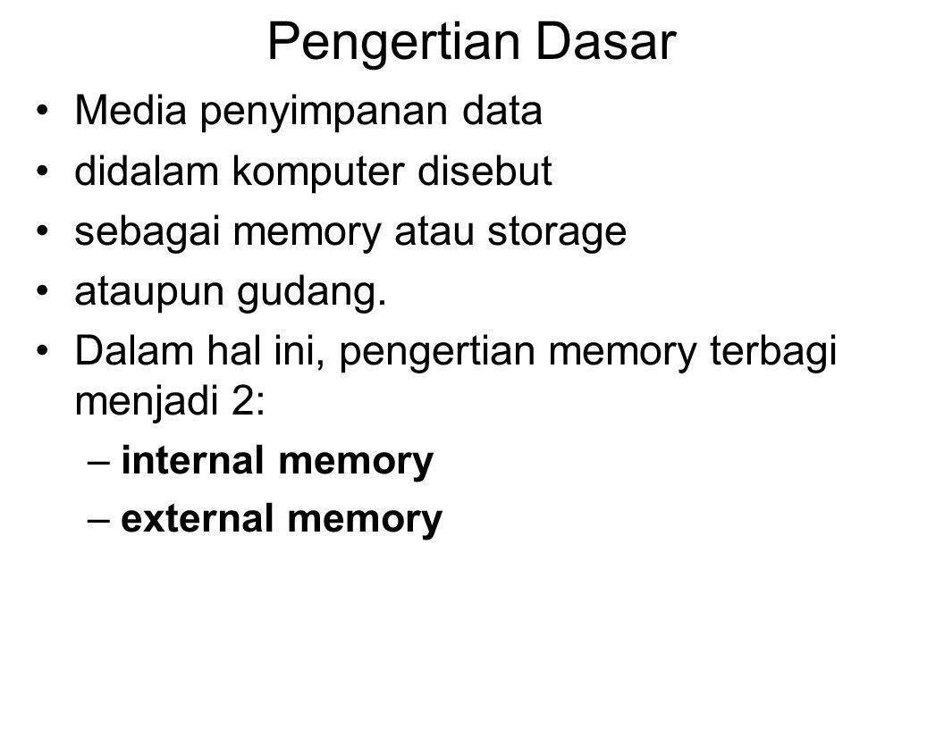 Pengertian Dasar Media penyimpanan data didalam komputer disebut sebagai memory atau storage ataupun gudang.