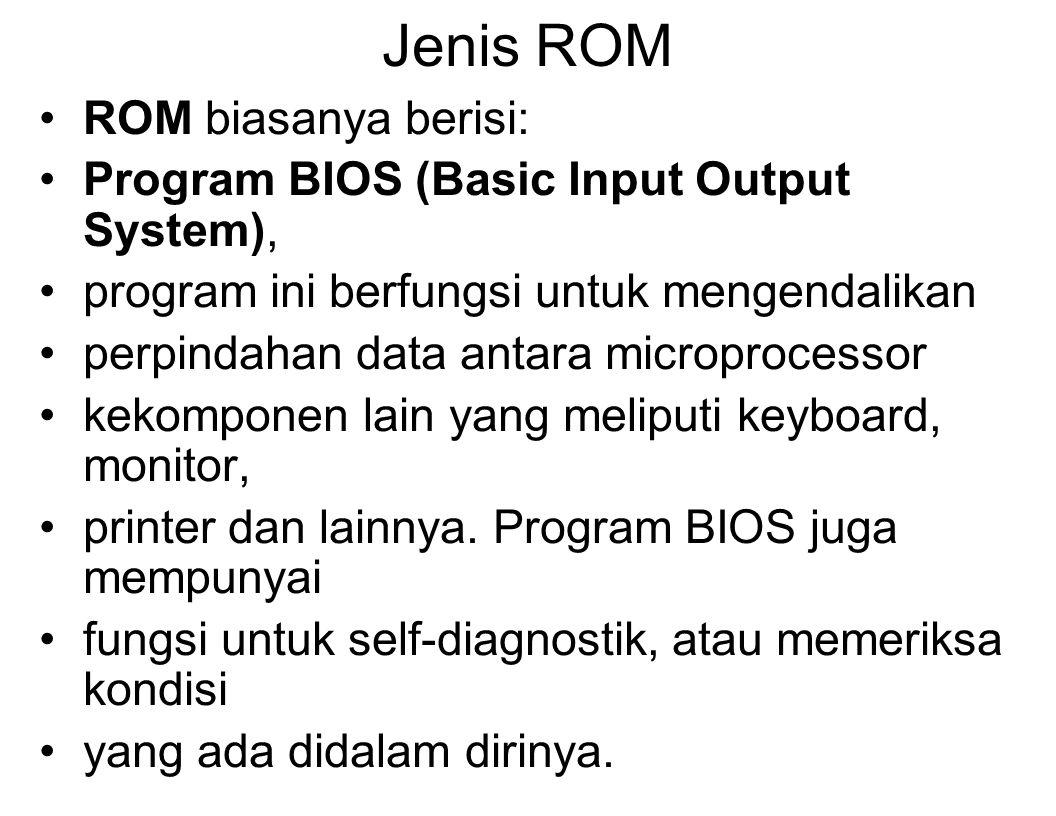 Jenis ROM ROM biasanya berisi: Program BIOS (Basic Input Output System), program ini berfungsi untuk mengendalikan perpindahan data antara microprocessor kekomponen lain yang meliputi keyboard, monitor, printer dan lainnya.