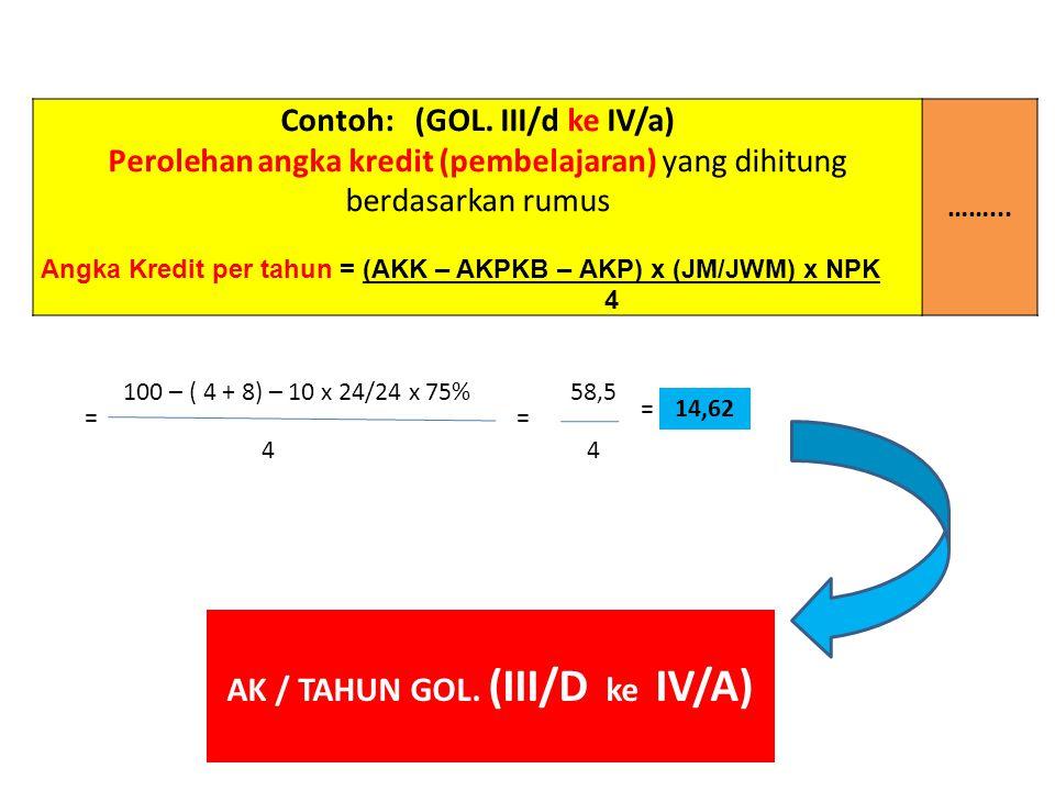 Contoh: (GOL. III/d ke IV/a) Perolehan angka kredit (pembelajaran) yang dihitung berdasarkan rumus Angka Kredit per tahun = (AKK – AKPKB – AKP) x (JM/
