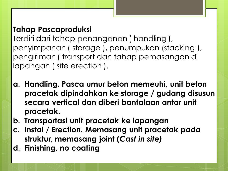 Tahap Pascaproduksi Terdiri dari tahap penanganan ( handling ), penyimpanan ( storage ), penumpukan (stacking ), pengiriman ( transport dan tahap pemasangan di lapangan ( site erection ).
