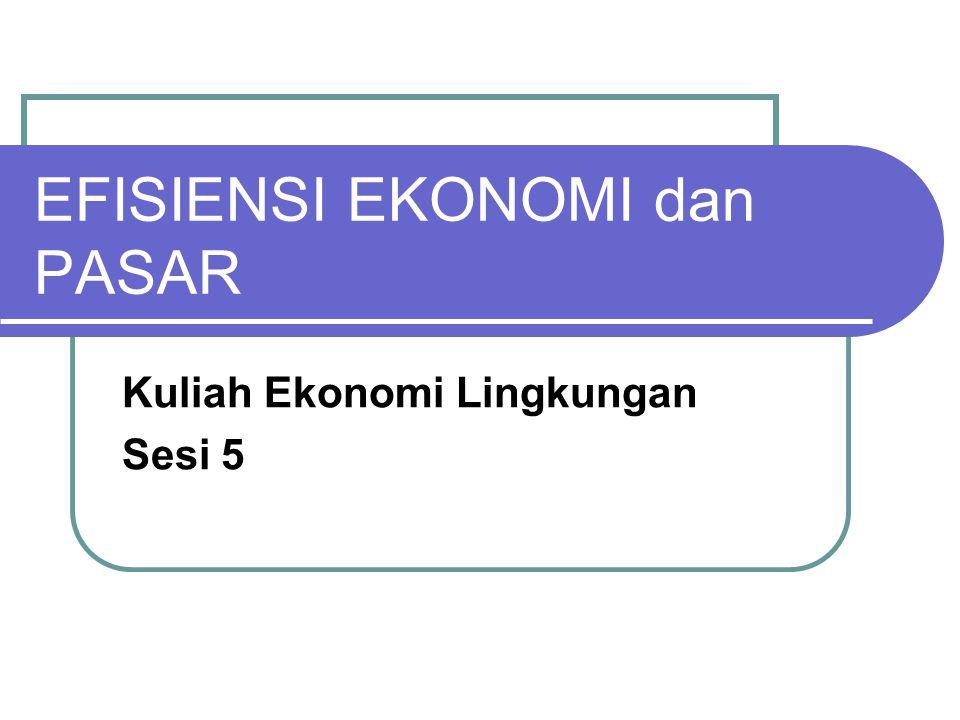 Efisiensi Ekonomi (1) Efisiensi Ekonomi  keseimbangan antara nilai produk dengan nilai dari input yang digunakan untuk memproduksinya (dgn kata lain: keseimbangan antara WTP dan MC produksi) Efisiensi tergantung juga dari siapa yang menilai.
