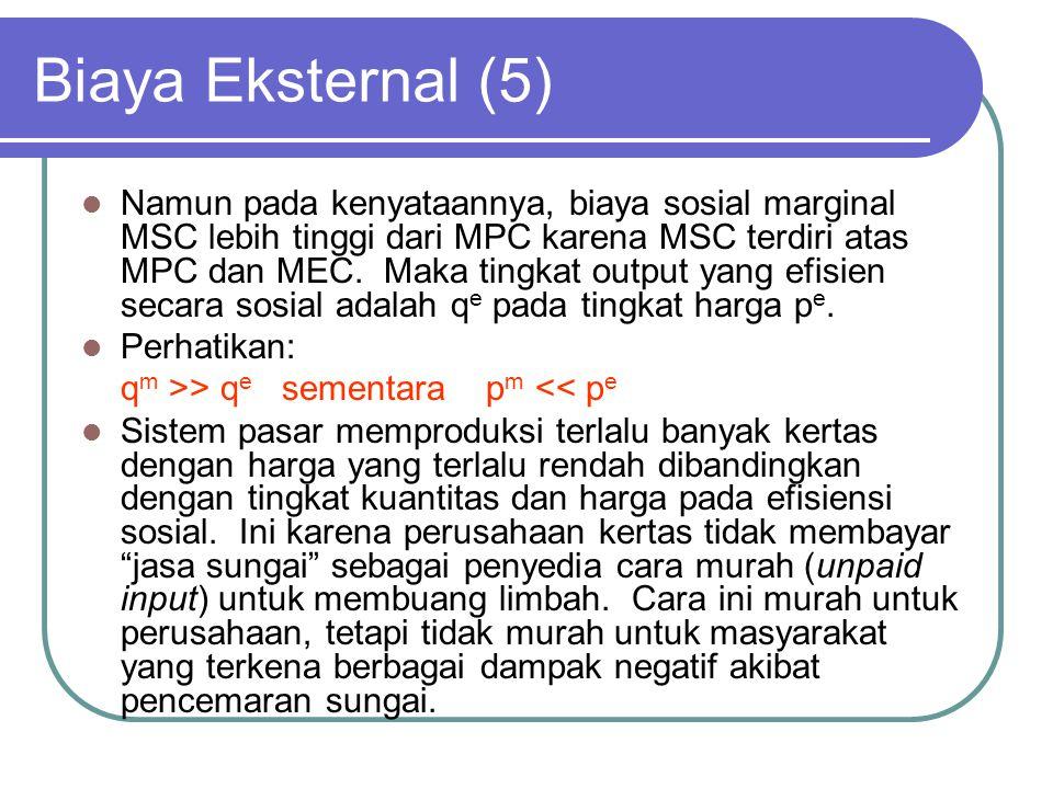 Biaya Eksternal (5) Namun pada kenyataannya, biaya sosial marginal MSC lebih tinggi dari MPC karena MSC terdiri atas MPC dan MEC.