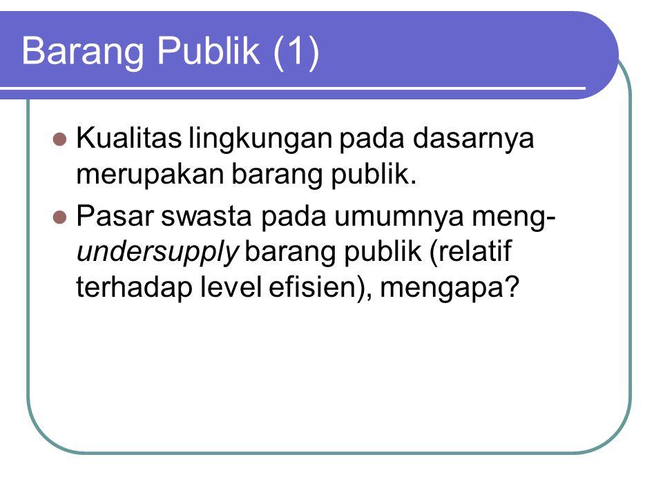 Barang Publik (1) Kualitas lingkungan pada dasarnya merupakan barang publik.