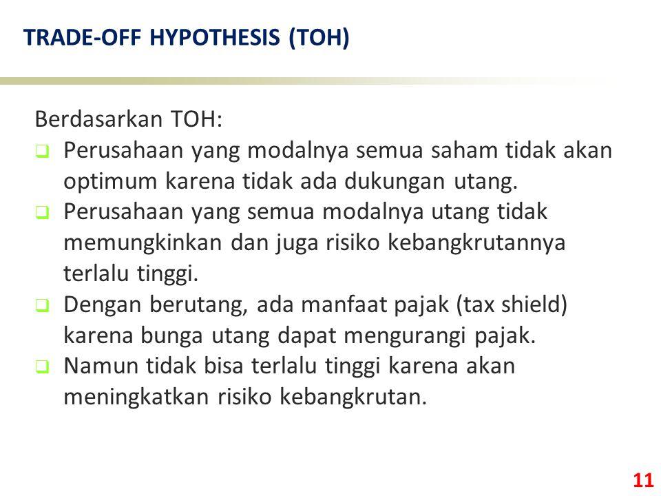 11 TRADE-OFF HYPOTHESIS (TOH) Berdasarkan TOH:  Perusahaan yang modalnya semua saham tidak akan optimum karena tidak ada dukungan utang.  Perusahaan