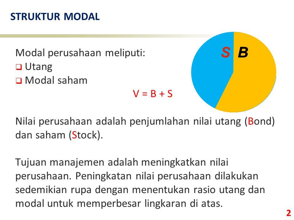 2 STRUKTUR MODAL Modal perusahaan meliputi:  Utang  Modal saham V = B + S Nilai perusahaan adalah penjumlahan nilai utang (Bond) dan saham (Stock).