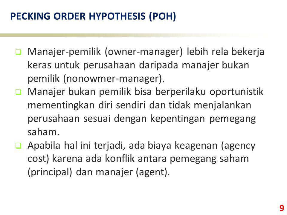 9 PECKING ORDER HYPOTHESIS (POH)  Manajer-pemilik (owner-manager) lebih rela bekerja keras untuk perusahaan daripada manajer bukan pemilik (nonowmer-