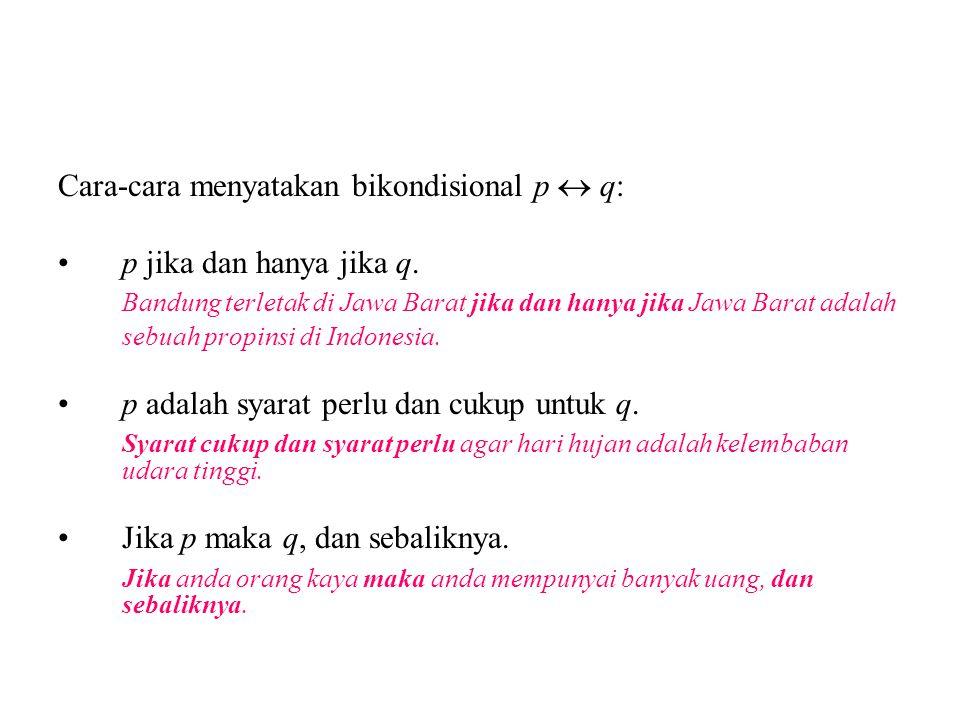 Cara-cara menyatakan bikondisional p  q: p jika dan hanya jika q. Bandung terletak di Jawa Barat jika dan hanya jika Jawa Barat adalah sebuah propins