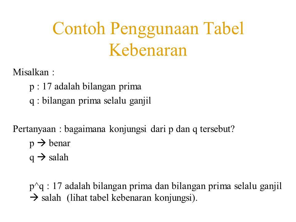 Contoh Penggunaan Tabel Kebenaran Misalkan : p : 17 adalah bilangan prima q : bilangan prima selalu ganjil Pertanyaan : bagaimana konjungsi dari p dan