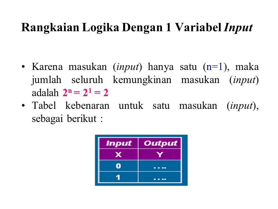 Rangkaian Logika Dengan 1 Variabel Input Karena masukan (input) hanya satu (n=1), maka jumlah seluruh kemungkinan masukan (input) adalah 2 n = 2 1 = 2