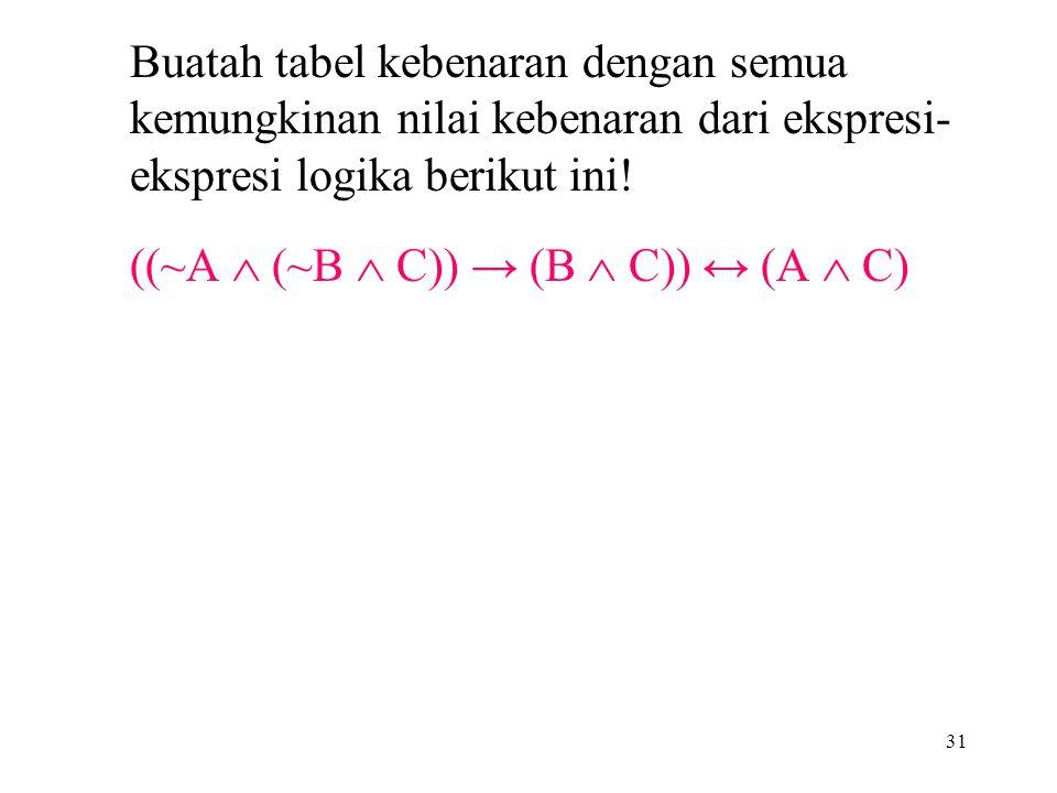 Buatah tabel kebenaran dengan semua kemungkinan nilai kebenaran dari ekspresi- ekspresi logika berikut ini! ((~A  (~B  C)) → (B  C)) ↔ (A  C) 31