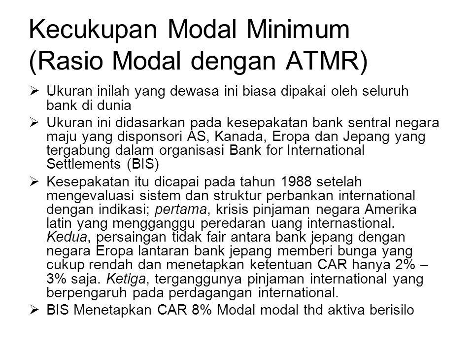 Kecukupan Modal Minimum (Rasio Modal dengan ATMR)  Ukuran inilah yang dewasa ini biasa dipakai oleh seluruh bank di dunia  Ukuran ini didasarkan pad