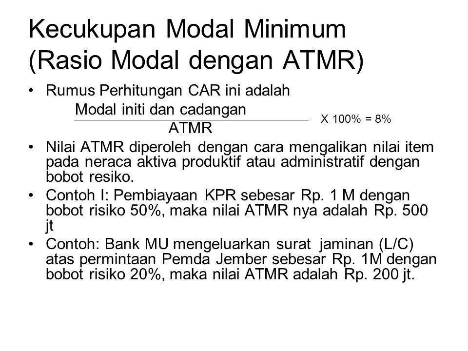 Kecukupan Modal Minimum (Rasio Modal dengan ATMR) Rumus Perhitungan CAR ini adalah Modal initi dan cadangan ATMR Nilai ATMR diperoleh dengan cara meng