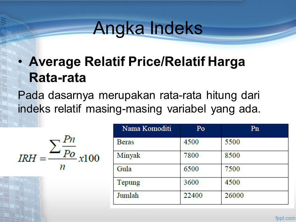 Angka Indeks Average Relatif Price/Relatif Harga Rata-rata Pada dasarnya merupakan rata-rata hitung dari indeks relatif masing-masing variabel yang ada.