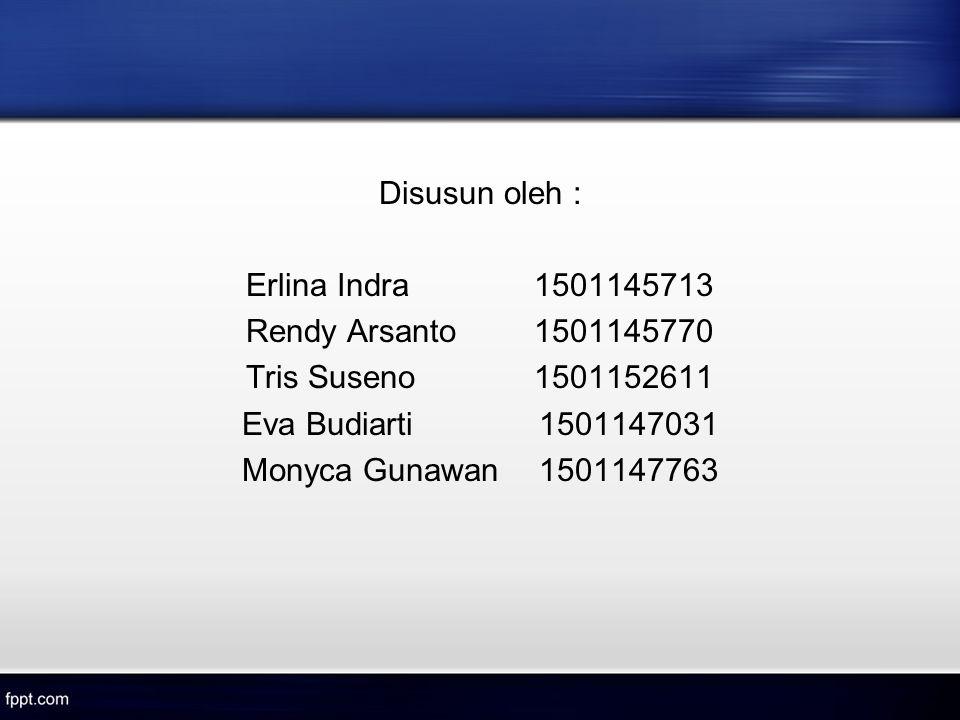 Disusun oleh : Erlina Indra1501145713 Rendy Arsanto1501145770 Tris Suseno1501152611 Eva Budiarti 1501147031 Monyca Gunawan 1501147763
