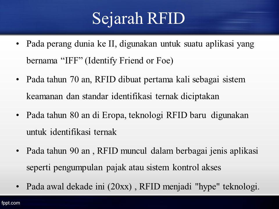 """Sejarah RFID Pada perang dunia ke II, digunakan untuk suatu aplikasi yang bernama """"IFF"""" (Identify Friend or Foe) Pada tahun 70 an, RFID dibuat pertama"""