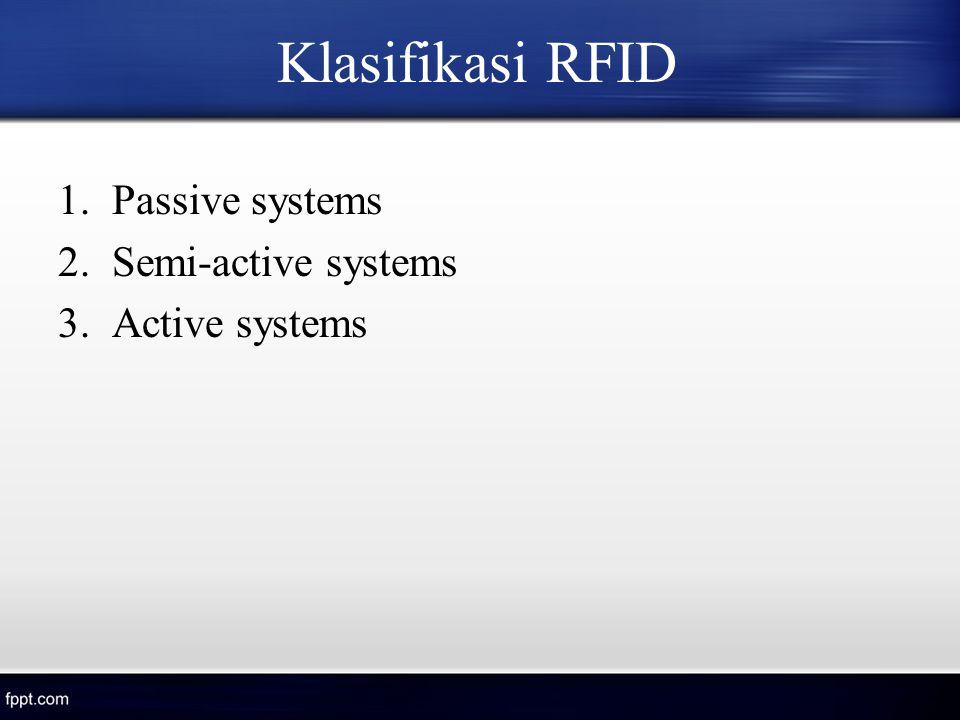 Klasifikasi RFID 1.Passive systems 2.Semi-active systems 3.Active systems
