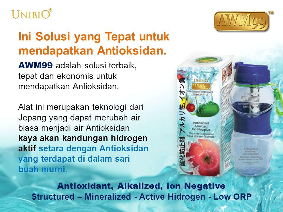 Ini Solusi yang Tepat untuk mendapatkan Antioksidan. AWM99 adalah solusi terbaik, tepat dan ekonomis untuk mendapatkan Antioksidan. Alat ini merupakan