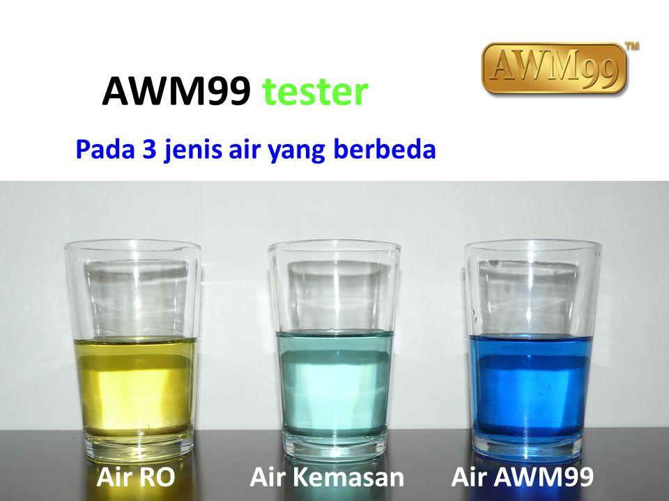 AWM99 tester Pada 3 jenis air yang berbeda Air RO Air Kemasan Air AWM99