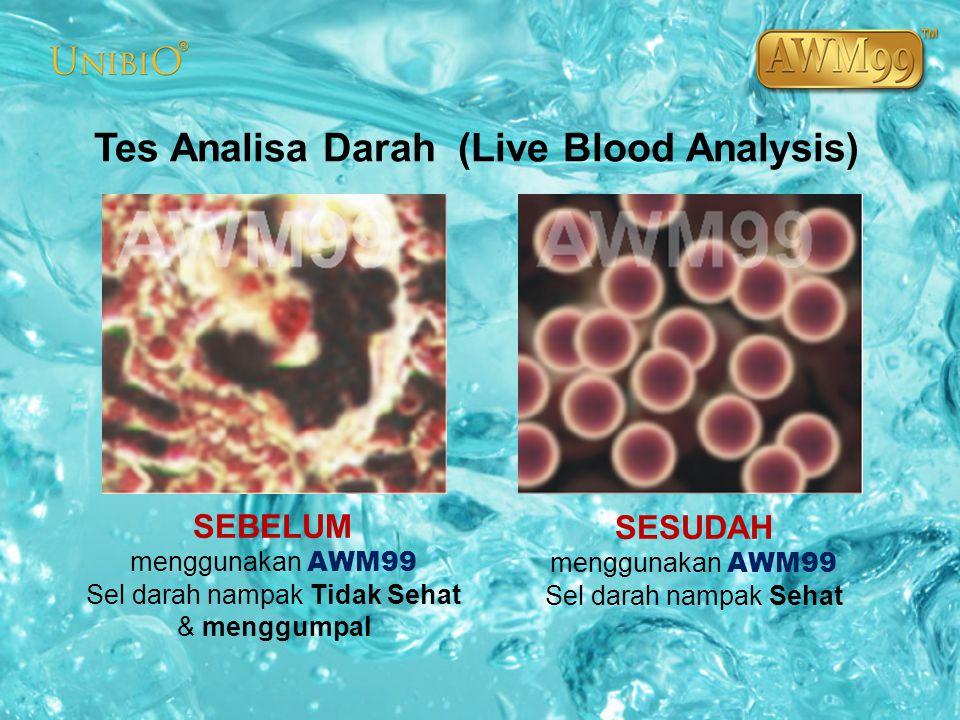 Tes Analisa Darah (Live Blood Analysis) SEBELUM menggunakan AWM99 Sel darah nampak Tidak Sehat & menggumpal SESUDAH menggunakan AWM99 Sel darah nampak