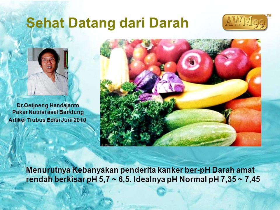Sehat Datang dari Darah Dr.Oetjoeng Handajanto Pakar Nutrisi asal Bandung Artikel Trubus Edisi Juni 2010 Menurutnya Kebanyakan penderita kanker ber-pH
