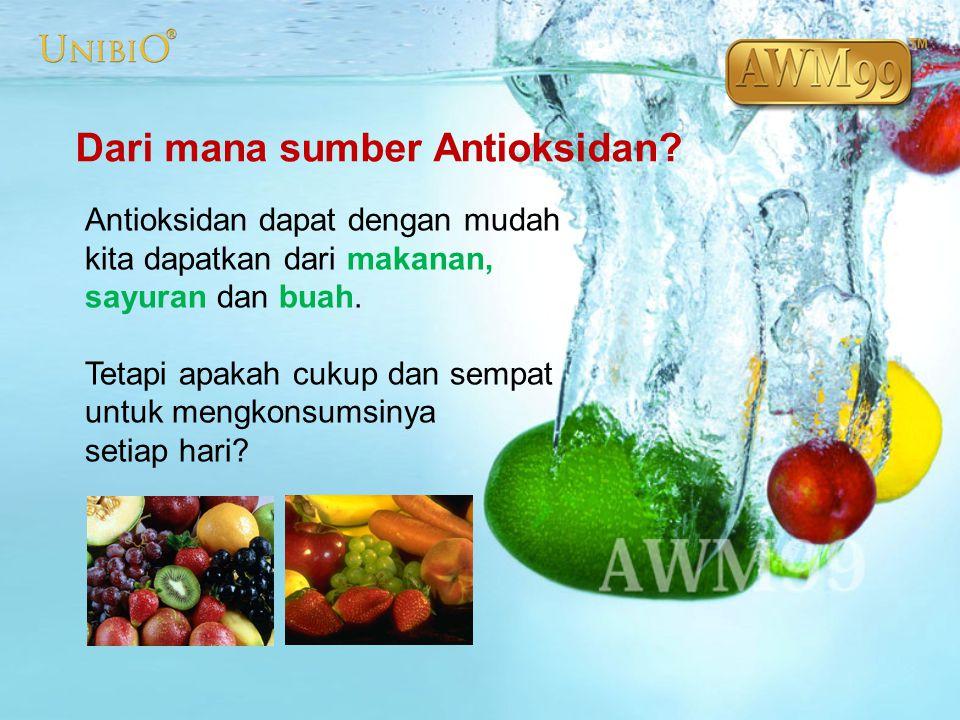 Antioxidant Alami Buah Segar dan AWM99 = Antioxidant Alami 3 buah kiwi atau 8 buah apel atau 5 buah jeruk atau 1 buah Semangka Setara = 1 botol air AWM99 Perbandingan dengan Antioksidan Buah-buahan Segar Kiwi Melon Orange ORP  -71mv -73 mv -48 mv AWM99 -100mv ~ -200mv