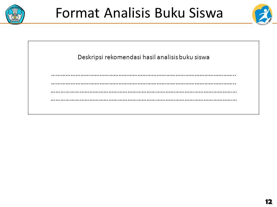 Format Analisis Buku Siswa 12 Deskripsi rekomendasi hasil analisis buku siswa …………………………………………………………………………………………………….. …………………………………………………………………………………